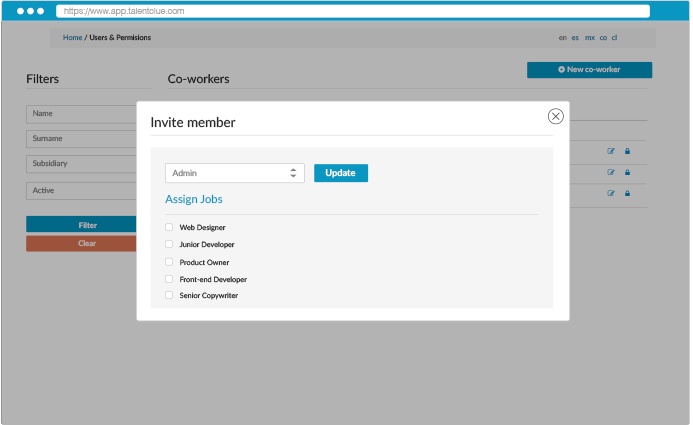 Organize, define and assign roles to hire as a team much more easily